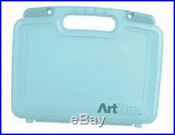 12 inch quick view carrying case-deep base aqua plastic art/ craft storage