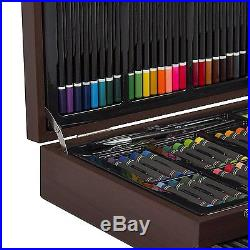 140-Pieces Artist Drawing Color Pencils Crayons Wooden Case Carrying Handle New