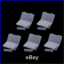 5 Pieces 28 Slots Transparent Plastic Storage Box Rhinestone Case Organizer