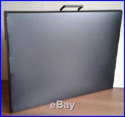 A2 Art Portfolio Folder Carry Case Box in Black Rigid Okastuc with Handle