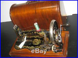 Antique 1895 Singer Fiddle Base Hand Crank Sewing Machine With Wooden Carry Case