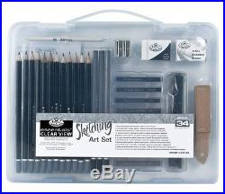 ARTISTS 34 PIECE SKETCHING ART SET in CLEAR CARRY CASE BY ROYAL & LANGNICKEL