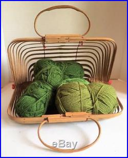Amazing Vintage BAMBOO KNITTING BAG Spiral Woven Open Carrying Case Yarn