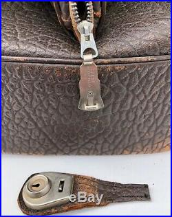 Ancient Leather Carrying Case Monogrammed HAH with Original Key, 1950