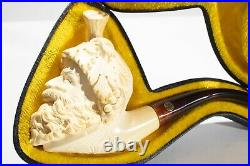 Antique Cad Meerschaum Hand Crafted Smoking Pipe With Carrying Case
