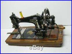 Antique Vintage Ward Brothers Cast Iron Hand Crank Sewing Machine & Carry Case