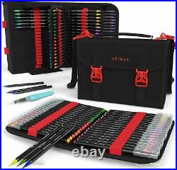 Arteza 96 Real Brush Pens Paint Markers Flexible Tips with Carrying Case