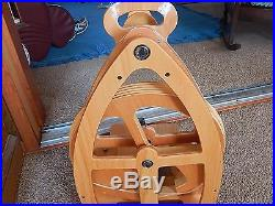 Ashford joy 2 double treadle spinning wheel with bobbins, accessories, carry case