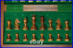 Beautiful Hand Crafted Wooden Chess Board Box with Pieces and Carrying Case