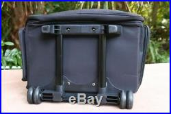 Black Large Rolling Scrapbook Storage Tote Craft Case durable nylon carrying