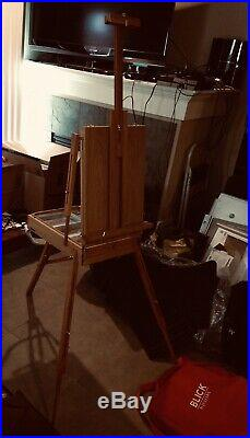 Blick by Juillian Easel With Wooden Paint Palette and Red Carrying Case