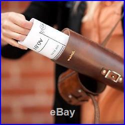 Blueprint Artwork Map Handsewn Leather Tube Carrying Case (Dark Brown)