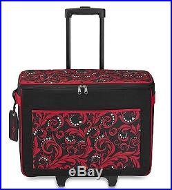 Brother Carrying Case rolling Tote For Paper Craft Machine Red Polyester
