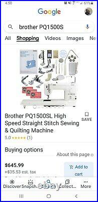 Brother PQ1500S Sewing Machine, barely used ALL feet & parts included! Huge lot