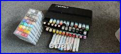 Bundle Of Used Copic Markers, refills and carry case some require refills