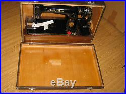 Cast Iron Singer 201 Converted Hand Sewing Machine With Wooden Carry Case