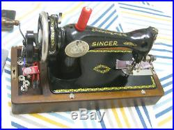 Cast Iron Singer 15k Hand Sewing Machine With Bent Wooden Carry Case