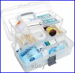 Clear Plastic 2-Tier Trays Craft Supply Storage Box/First Aid Carrying Case