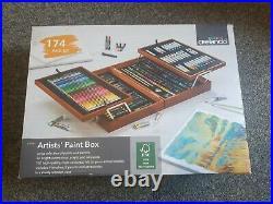 Crelando Artists Paint Box Art Set W Wooden Box carry case 147 piece set Acrylic