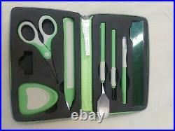 Cricut Provo Craft 7 Piece Tool Kit Zip Green Storage Carrying Case Set