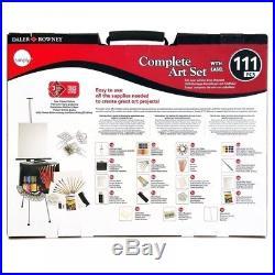 Daler-Rowney Complete Art Set (111pcs) Beginner Supplies + Carrying Case + Easel