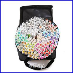 Dual Brush Color Marker Set Pro Art Markers Duel Tip Drawing Includes Carry Case