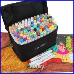 Dual Tip Alcohol Based Felt Tip Markers Set Of 100 Pens With Black Carrying Case
