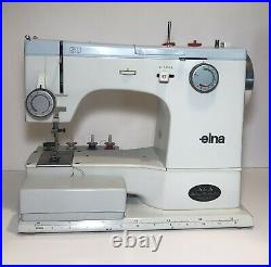 Elna SU 62C Free Arm Sewing Machine, carrying case, embroidery cams & extras