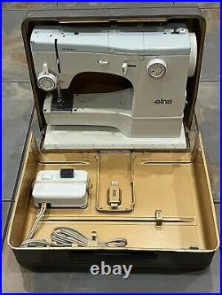 Elna Super 62C sewing Machine Swiss Made With Pedal & Original Carrying Case