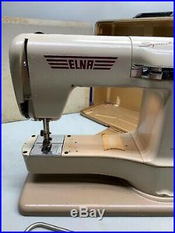 Elna Supermatic Sewing Machine Brown with Carrying Case Working