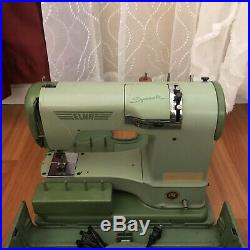 Green Elna Supermatic Sewing Machine with Metal Carrying Case 722010