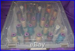 Isacord thread 33 spools in a durable carry plastic case with handle