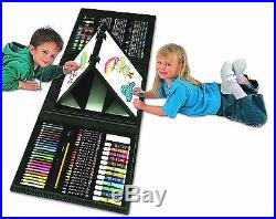 Kids Art Set Case With Easel Portable Carry Coloring Creativity Drawing Set