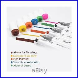 L'mouchet Dual Tips Art Animation Twin Marker Pens with Carrying Case for Art