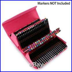 LANIAKEA 120 Slots Inserting Multi-layer Marker Pen Carrying Case (Rose Red)