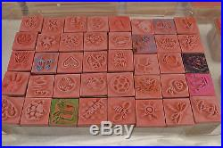 Large 58 stamp lot of rubber crafting ink stamps with Clear Carrying Case Carry
