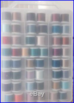 Madeira 200M Rayon Embroidery Thread. 96 spools in carry case 4 Different Types
