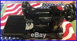 Mint Singer 221 Featherweight 1957 Sewing Machine With Carry Case & Extras