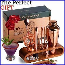 Mixology Bartender Kit 10-Piece Bar Set Cocktail Shaker Set with Stylish Mahoga