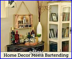 Mixology Bartender Kit 11-Piece Bar Tool Set with Rustic Wood Stand Perfect H