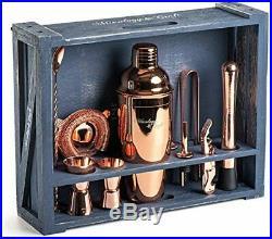 Mixology Bartender Kit 11-Piece Copper Bar Set Cocktail Shaker Set Rustic Wood