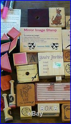 Mounted Rubber Stamp Lot And More Carrying Case Included Over 100 Pieces