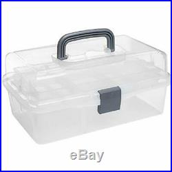 MyGift Plastic 2 Tier Trays Craft Supply Storage Box/Firstaid Carrying Case withTo