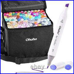 NEW Ohuhu 160 Color Alcohol Marker pen Set With Blender Pen Carrying case anime