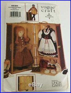 OOP Vtg Vogue Craft Sewing Pattern 9688 Doll Trunk Carrying Case 12x21x11 UC FF