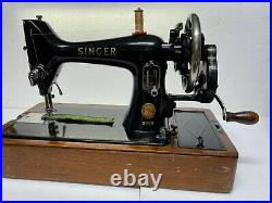 ORIGINAL SINGER 99k CAST IRON HAND CRANK SEWING MACHINE & BENT CARRY CASE