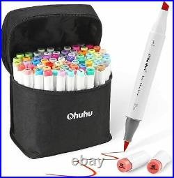Ohuhu Art Brush Marker 72 colors Double Tipped with Blender Pen, Carrying Case