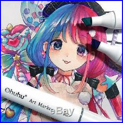 Ohuhu Art Marker 200 colors Double Tipped with Blender Pen, Carrying Case Japan
