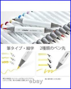 Ohuhu Brush type 120 Colors Marker Pen with Carrying Case, Blender Pen