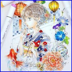 Ohuhu Illustration Marker 80 Pastel Colors & Blender Pen With Carrying Case New
